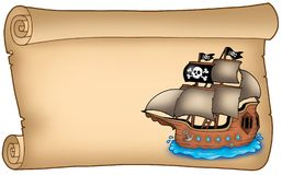 Old scroll with pirate ship Stock Images