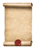 Old scroll with red wax seal 3d illustration. Old scroll with red wax seal isolated 3d illustration Stock Photography