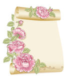 Old scroll and roses. Paper Stock Photo
