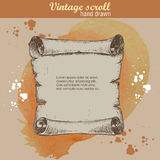 Old scroll sketch style on watercolor background Royalty Free Stock Image