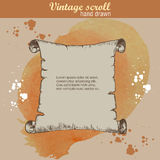 Old scroll sketch style on watercolor background Stock Photo