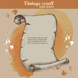 Old scroll sketch style on watercolor background. Hand drawn stock illustration