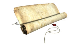 Old Scroll Unrolling With String Royalty Free Stock Image