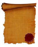 Old scroll with wax seal Stock Image