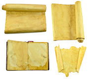 Old scrolls and open book set Royalty Free Stock Image
