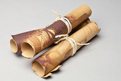 Old Scrolls of Papers. Tied with twine Royalty Free Stock Photography
