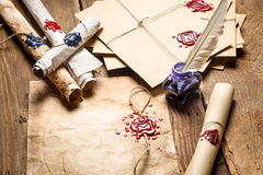 Old scrolls, sealing wax and blu ink Royalty Free Stock Photos