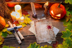 Old scrolls written on the table witches Royalty Free Stock Photography