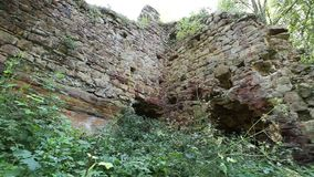 Old scrubby castle walls stock video
