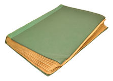 Old Scruffy Book. An old scruffy green hardback book isolated on a white background Royalty Free Stock Photos