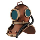 Old Scuba Helmet. Underwater diving scuba helmet. Old school and vintage style. Perspective view. 3D render Illustration isolated on a white background Stock Photography