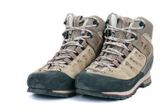 Old scuffed hiking boots Stock Photo