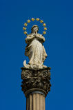 The old sculpture holy Virgin Mary. In the city Bystrice nad Pernstejnem in the Czech republic Stock Photography