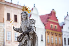 Old sculpture of saint Marketa patroness of Telc, Czech Republic. Stock Photos