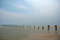 Old sea bridge near Chu-Am beach Stock Photos