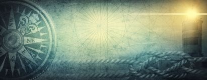Old sea compass, lighthouse and sea knot on abstract map background. Pirate, explorer, travel and nautical theme grunge