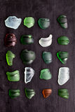 Old sea glass bottlenecks Royalty Free Stock Photos