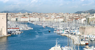 The old sea port, view of the historic harbor Vieux Port of Marseille,South France Stock Images