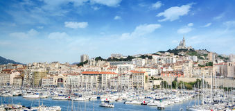 The old sea port, view of the historic harbor Vieux Port of Marseille,South France Stock Photo