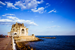 Old sea-side palace. The old emblematic casino on the shore of the Black Sea. A landmark for the city of Constanta, Romania Stock Photography