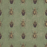 Old seamless pattern with beetles background Stock Images