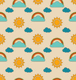 Old Seamless Pattern with Weather Symbols Royalty Free Stock Photos
