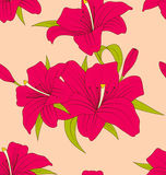 Old Seamless Texture with Lily Flowers and Leaves Stock Image