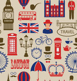 Old Seamless Texture of Silhouettes Symbols of Great Britain, Royalty Free Stock Images