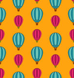 Old Seamless Travel Pattern of Air Colorful Balloons Royalty Free Stock Photography