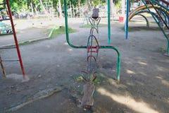 Old Seasaw playground scene stock image