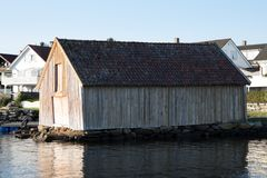 Båthus. Old seaside house from 1960 ready for demolition Royalty Free Stock Image
