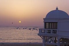 Old seaside resort on the beach in Cadiz. Royalty Free Stock Photo
