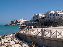 Old seaside town of Vieste in Puglia, Italy. Famous tourist attraction destination royalty free stock photos
