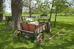 Old seed spreader chellberg farm. Old seed spreader on the Chellberg Farm stock images