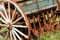 Old seeder. Agricultural machinery Royalty Free Stock Images