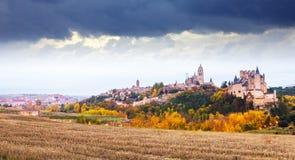 Old Segovia with Alcazar in november. Spain Royalty Free Stock Photos
