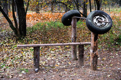 Old self-made  training apparatus outdoors. Stock Image