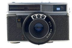 Old semi-automatic rangefinder. Front view of semi authomatic fixed lens rangefinder Stock Photo