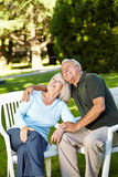 Old senior couple looking up Royalty Free Stock Photos