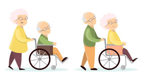 Old senior couples. Old senior couples set. Wives with husbands on wheelchair Stock Photos