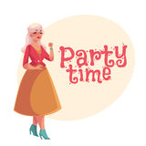 Old, senior, gray-haired elegant lady dancing. Cartoon style invitation, banner, poster, greeting card design. Party invitation, advertisement, portrait of Royalty Free Stock Photo