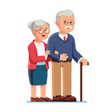 Old senior man and aged woman standing together. Old senior man and woman in glasses standing or walking together arm in arm. Aged grey haired couple. Flat style Royalty Free Stock Photos