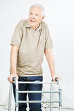 Old senior man with walker Royalty Free Stock Photos