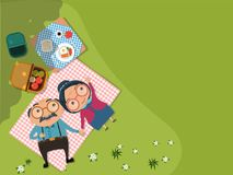 Old senior man and woman couples. Camping and having a picnic in green meadow Top view. vector illustration royalty free illustration