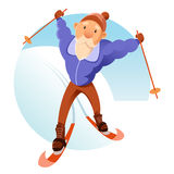 Old senior on the skis. Vector image of an old senior on the skis Royalty Free Stock Image
