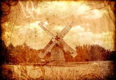 Old sepia windmill. Old sepia country windmill landscape Royalty Free Stock Photo