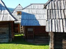 Old Serbian traditional tree house, Mokra Gora, Drvengrad. Old Serbian traditional tree house, Mokra Gora near Mecavnik or Drvengrad, Balkan, Europe stock photo
