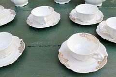 Old service tea cups. For home royalty free stock image