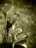 Old set of rough used golf clubs royalty free stock photography