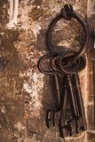 Old set of rusty keys stock images